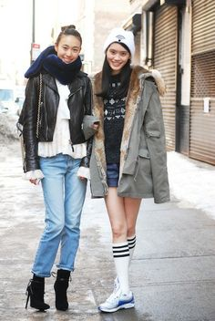The Best Street Style from New York Fashion Week, Day 2: Shu Pei (left) and Ming Xi (right)  Models