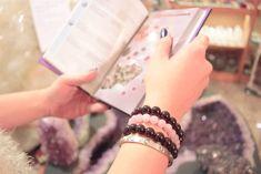 Rose Quartz and Garnet Beaded Bracelets with Cartier Bangle in white gold and diamonds Gems Jewelry, Beaded Jewelry, Beaded Bracelets, Gem S, Crystal Healing, Gemstone Beads, Cartier, Rose Quartz, Garnet