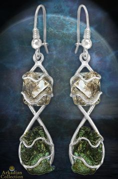 Handmade Moldavite & Herkimer Diamond Earrings | Arkadian Collection