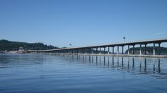 The Hood Canal Bridge that connects the Kitsap Peninsula to the Olympic Peninsula...