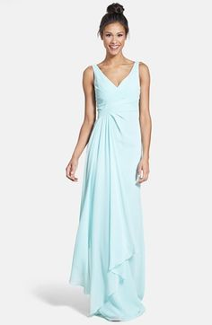 ML Monique Lhuillier Bridesmaids Sleeveless V-Neck Chiffon Gown (Nordstrom Exclusive) available at #Nordstrom