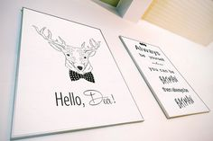Hello #Deer #Printable / #Minimalist Digital Print / Scandinavian Poster   ------------------------------------------------------------------------------  ★ Printable poster f... #poster #printable #art #deer #minimalist #scandinavian #reindeer