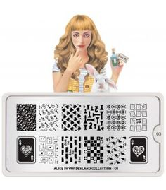 """MoYou-London Stamping Nail Art Image Plate Alice Collection Meet Alice, Her imagination takes her stamping to another level! Come join her adventures in wonderland. """"Imagination is the only weapon in the war against reality. Alice In Wonderland Nails, Adventures In Wonderland, Nail Art Stamping Plates, Nail Plate, Nagel Stamping, Nail Art Designs Images, London Nails, Image Plate, Flamingo Pattern"""