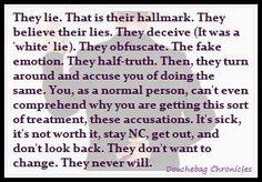 The narcissist is a liar [DECEIVE. 'White lie.' HALF TRUTHS..] all bullshit!