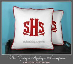 The Georgia Applique Framed Monogrammed pillow covers - set of two - by calicodaisy