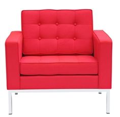 Florence Style Modern Upholstered Arm Chair in Red Wool