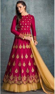 Deep Pink Color Silk A Line Style Long Anarkali Salwar Kameez   FH468472842