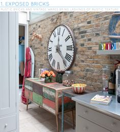 Eclectic kitchen A distressed, colourful sideboard complements this exposed brick wall. The large clock adds life Urban Decor, Home Goods Decor, Decor, Diy Home Decor, Home, Eclectic Interior Design, Eclectic Kitchen, Home Decor, Rustic Kitchen