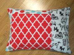 Dog Pillow in Orange, Blue and Black Flannel by NivensQuilts on Etsy