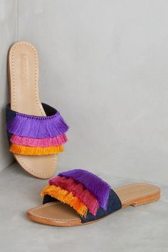 Best Women's Shoes From Casual To Designer Collections - Handmade Mystique Saturated Slides. Classic summer slides with a bold and bright layered fringe twist. Boho Sandals, Fashion Sandals, Shoes Sandals, Slide Sandals, Fringe Sandals, Greek Sandals, Black Sandals, Cute Shoes, Me Too Shoes
