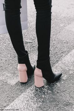 Need pink heeled booties... | Street Style