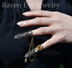 Adjustable+forged+nail+ring+jewelry+set!   Two+forged+nail+tip+rings+both+bejeweled+individually+with+vintage+brass+rose,+glass,+crystals,+and+stones,+joined+with+swags+of+vintage+brass+and+gold+chains.  Very+secure,+each+ring+adjusts+for+a+custom+fit.+If+you+want+a+custom+size,+let+me+know+...