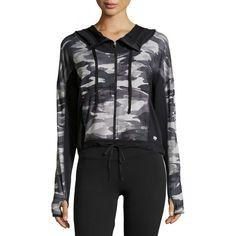 Marika Tek Camo-Trim Hooded Performance Jacket ($29) ❤ liked on Polyvore
