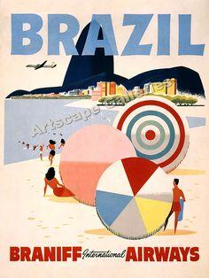 Vintage Travel David Pollack Vintage Posters - vintage airline poster for Braniff international airways - Brazil beach City Poster, Poster Ads, Poster Prints, 1950s Posters, Art Prints, Vintage Advertisements, Vintage Ads, Vintage Style, 50s Advertising