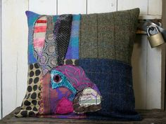 Hare Patchwork Cushion, Crazy, Retro, Funky, Tweed, Velvet, Embroidered Cushion, Rabbit