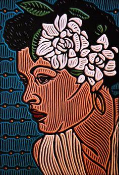 """Woodcut Billie Holiday"" - Lisa Brawn {contemporary art female head flowers african-american black woman face portrait illustration}"