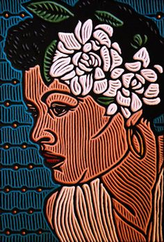"""Woodcut Billie Holiday"" - Lisa Brawn {contemporary artist female head flowers african-american black woman face portrait illustration}"