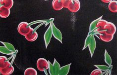 STELLA ReTrO Black Vintage Style CHERRY Oilcloth Material Fabric Cloth Vinyl