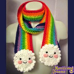 rainbow scarf, adorable for kids. JUST KIDS? I would totally wear this! same with the Hello Kitty ear flap hats! if they were made of the right kind of yarn anyway. Cute Crochet, Crochet For Kids, Crochet Crafts, Yarn Crafts, Crochet Projects, Crochet Scarves, Crochet Shawl, Crochet Clothes, Knit Crochet