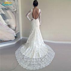 gorgeous mermaid long sleeves 2017 wedding dress