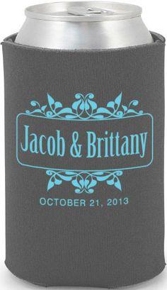 totally wedding koozie flourish wedding border design navy blue background with coral print