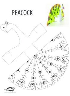 Worksheet for peacock pattern activities, forms activities - Diy & Crafts World Kids Crafts, Animal Crafts For Kids, Summer Crafts, Preschool Crafts, Diy For Kids, Arts And Crafts, Paper Toys, Paper Crafts, Peacock Crafts
