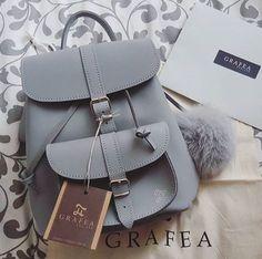 GRAFEA — Grafea grey leather backpack with pom pom. Luxury Handbags, Fashion Handbags, Purses And Handbags, Fashion Bags, Fashion Backpack, Cheap Handbags, Popular Handbags, Cheap Purses, Cheap Bags