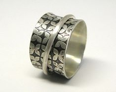 Modern Floral Brushed Finish Sterling Silver Spinner Ring