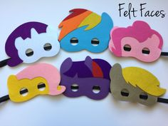 One set of 6 My Little Pony party masks, one of each style shown in the photo. Each mask is made with premium felt, and has a black elastic band sewn to each side of the back. These adorable party mas