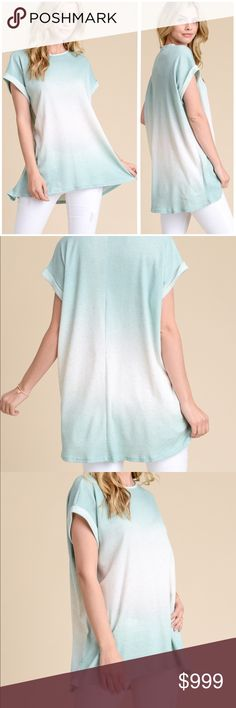 Short Sleeve Cotton Blend Ombré Tunic Tee Thermal ombré boxy top with folded hem short sleeves.   Made in the USA   45% cotton, 51% poly, 4% spandex  Browse my closet and bundle items for a discount!   (Internal inventory code MAAR) Hopely Tops Tunics