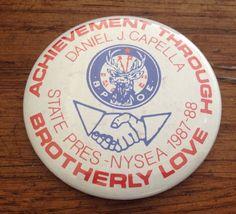 Vintage BPOE NYS Elks Pin 1987 1988 Pinback Daniel J Capella President NYSEA