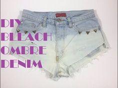 Tutorial video DIY Bleach Denim Cut Offs from Abidashery Denim Cutoffs, Jean Shorts, Bleached Denim, Tutorials, Celebrities, Youtube, Diy, Fashion, Repurpose