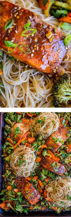 Sheet pan meals are the best! I'm a total convert guys! This one features chili spiced salmon with broccoli, carrots, and rice noodles. It is super easy to throw together, done in 30 minutes! Salmon Recipes, Fish Recipes, Seafood Recipes, Asian Recipes, Cooking Recipes, Healthy Recipes, Pan Cooking, Oven Recipes, Healthy Dinners