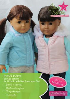 PufferJacket and Vest Doll Clothes Pattern for 18 inch American Girl Dolls. Sewing pattern instant download