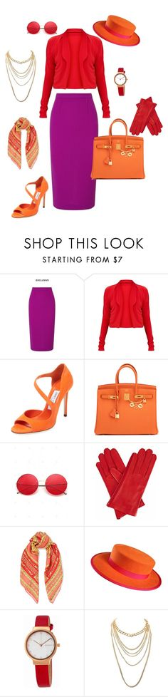 """""""Untitled #10"""" by wednesday-addams-i ❤ liked on Polyvore featuring Roland Mouret, Jimmy Choo, Hermès, Gizelle Renee, Versace, Skagen and Charlotte Russe"""