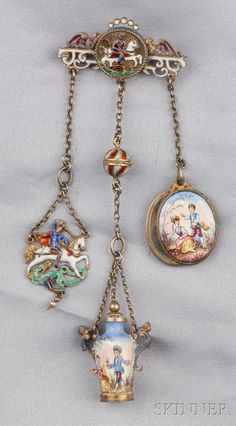 RENAISSANCE REVIVAL SILVER-GILT AND ENAMEL CHATELAINE, AUSTRIA-HUNGARY, THE PIN WITH CENTRAL MEDALLION OF ST. GEORGE SLAYING THE DRAGON - FINE JEWELRY - SALE 2510 - LOT 157 - Skinner Inc