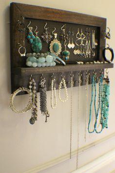 Kona macchiato muro montata gioielli organizzatore, organizzatore della parete, Display gioielli, collana titolare, orecchino Organizzatore