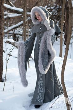 "Wool Gray Fantasy Coat ""Heritrix of The Winter""; snow princess; white queen fur…"