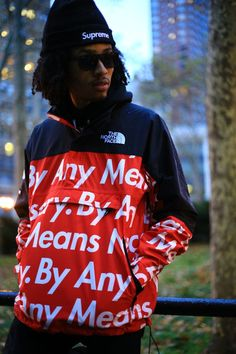 North Face 'by any means necessary' red anorack