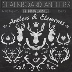 Etsy の Chalkboard Clipart: Chalkboard Antlers and by DigiWorkshop