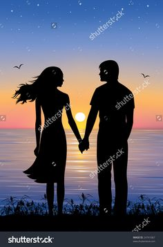 Beautiful Drawing Of Man And A Woman Holding Hands - Silhouettes Of Man And Woman Standing And Holding Hands At Evening The Legend Of The Broken Heart Long Time Ago There Was A Heart Couple In Love Young. Sillouette Painting, Love Birds Painting, Couple Painting, Man And Woman Silhouette, Hand Silhouette, Couple Silhouette, Drawing Sunset, Sea Drawing, Couple Sketch