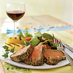 Beef Tenderloin with Mustard and Herbs | CookingLight.com #protein #myplate
