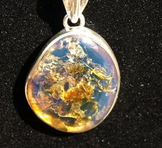 Dominican Blue Clear Amber Big Oval Pendant by MyBeachStore