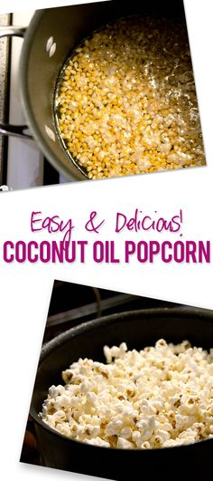 Food and Drink. Easy and Delicious Coconut Oil Popcorn. No butter needed. howdoesshe.com