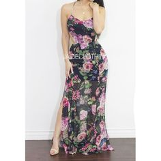 Navy Flower Me Maxi Chiffon Dress - Jaide Clothing