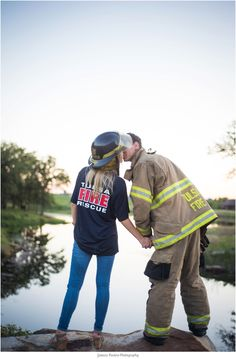 Cute idea for a firefighter groom! Engagement session by Jessica Nadine Photography - Oklahoma Wedding Photographer