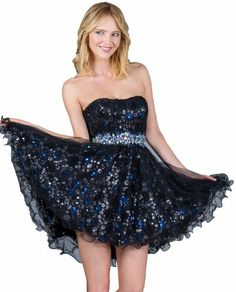 Zeilei Sweet 16 Strapless Sequin Short Homecoming Party Dress - Appealing Apparel: Price: $149.00   - Kind of pretty.