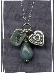 Sterling Silver and Aquamarine Necklace - Love these colors and how they hang from one ring