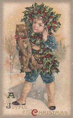 A Joyful Christmas...holly boy with teddy bear