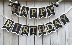 Black and gold birthday banner Ships 2-5 by MerryMakersPapier